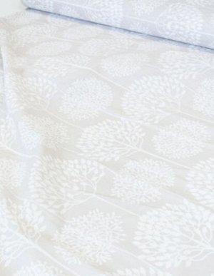 "Бязь ""Заснеженный сад на серо-бежевом"", ш.2.2м, хлопок-100%, 120гр/м.кв"