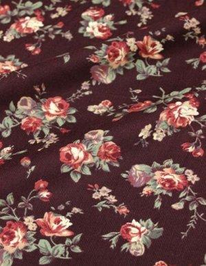 """Микровельвет """"Крупные розы"""" цв. коричнево-бордовый, ш.1,1м, хлопок-100%, 140гр/м.кв"""