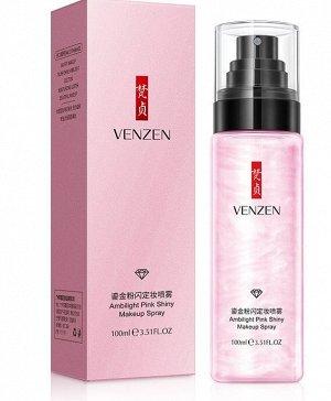 Спрей фиксатор для макияжа Venzen Pink Shine Watery Makeup с розовой жемчужной пудрой 100 ml