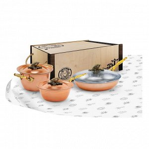 """Набор медной посуды """"КУКУРУЗА"""" (кастрюля, сковорода, сотейник)"""