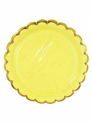 Тарелка бумага Пудровые с золотом набор 10 шт 18 см цвет желтый
