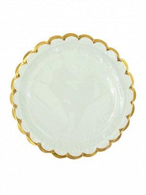 Тарелка бумага Пудровые с золотом набор 10 шт 18 см цвет мятный