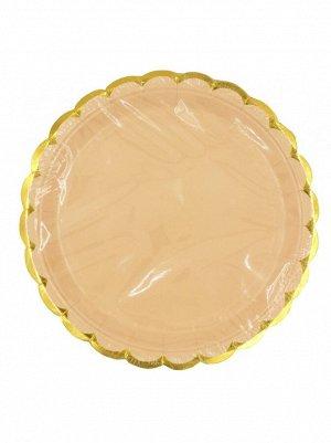 Тарелка бумага Пудровые с золотом набор 10 шт 23 см цвет розовый