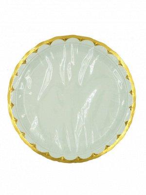 Тарелка бумага Пудровые с золотом набор 10 шт 23 см цвет мята