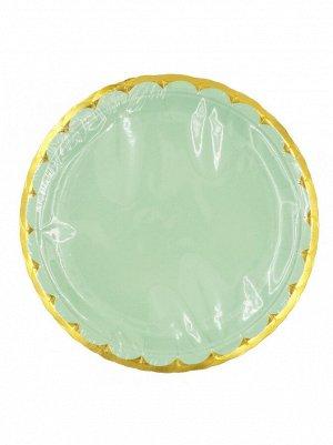 Тарелка бумага Пудровые с золотом набор 10 шт 23 см цвет зеленый