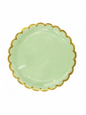 Тарелка бумага Пудровые с золотом набор 10 шт 18 см цвет зеленый