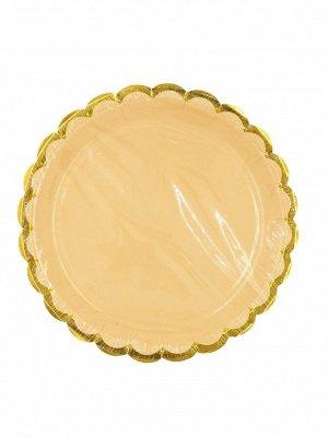 Тарелка бумага Пудровые с золотом набор 10 шт 18 см цвет розовый