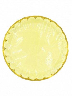 Тарелка бумага Пудровые с золотом набор 10 шт 23 см цвет желтый