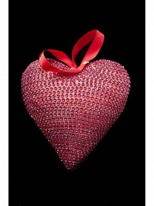 Сердце подвеска пластик 17;5*17*8см цв Красный