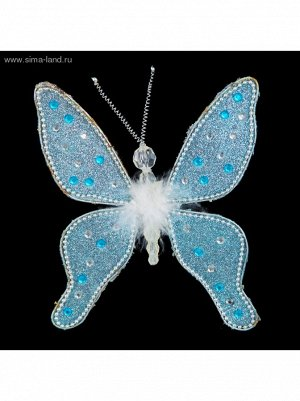 Бабочка капелька 18 см голубая украшение новогоднее