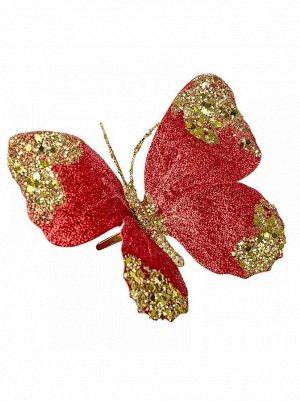 Бабочка на прищепке красная