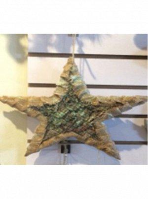 Звезда на подвесе 35 х 35 х 4 см дерево
