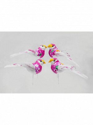 Птичка на вставке 13 см цвет розовый