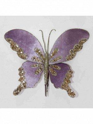 Бабочка с глиттером на прищепке 25 х 15 см цвет сиреневый