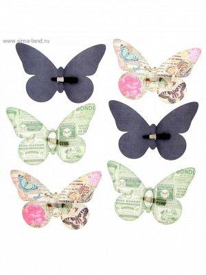 Набор декоративных бабочек Газетный на заколках 16;5 х 11;5 см