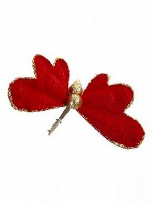 Бабочка 11 х 24 х 8 см бархат/полиэстр цвет карсный   новый год