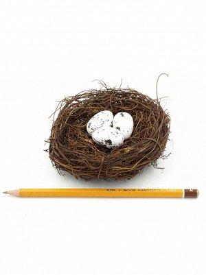 Гнездо декоративное с перепелинными яйцами 11 см