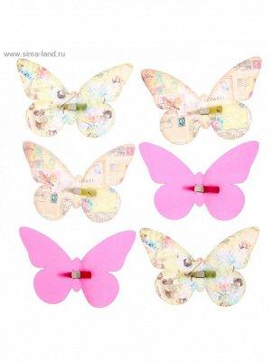 Набор декоративных бабочек Винтаж на заколках 16;5 х 11;5 см