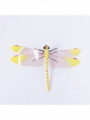 Стрекоза на магните 9 х 14 см пластик цвет желтый