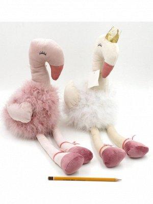 Фламинго Балерина 50см текстиль; перо цвет белый/розовый