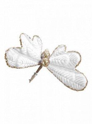 Бабочка 9 х 12 х 8 см бархат/полиэстр цвет белый   новый год