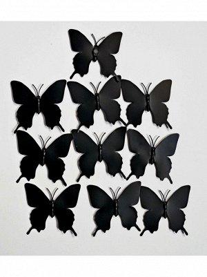 Бабочка на магните набор 10 шт 5;5 х 5;5 см пластик цвет черный