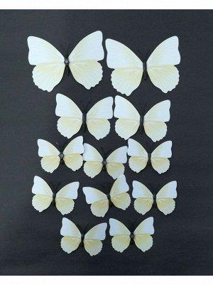Бабочка на магните набор 12 шт пластик цвет белый