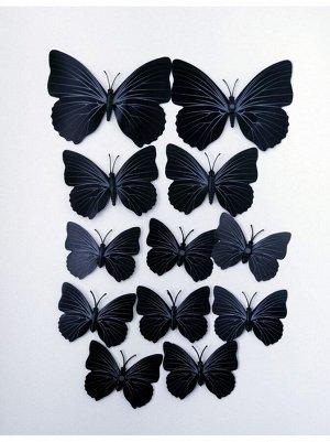 Бабочка на магните набор 12 шт пластик цвет черный