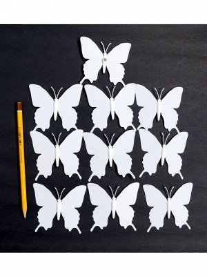 Бабочка на магните набор 10 шт 7;5 х 7;5 см пластик цвет белый