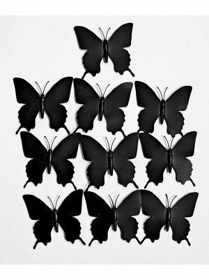 Бабочка на магните набор 10 шт 7;5 х 7;5 см пластик цвет черный
