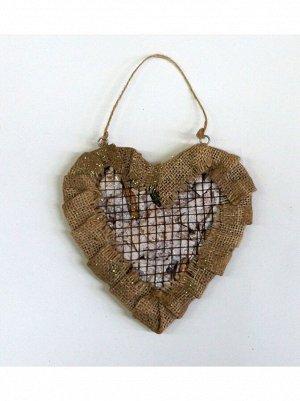 Сердце-сетка на подвесе 18 х 17 х 2;5 см из дерева и мешковины