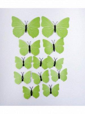 Бабочка на магните набор 12 шт пластик цвет зеленый