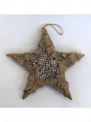 Звезда на подвесе 25 х 25 х 3 см дерево