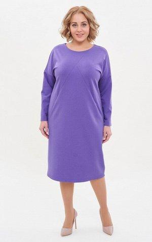 Платье сирень, бирюза. Вискоза 68%, нейлон 27%, спандекс 5% Длина: от 108 см Описание:Универсальное базовое платье, в котором преобладают плавные линии: спущенный рукав, круглый вырез декольте, облега
