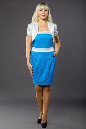 "Корсет ""Карманы"" голубой (ткань-атлас+гипюр) размер 42-46"