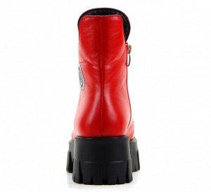 Ботинки натуральная кожа красный
