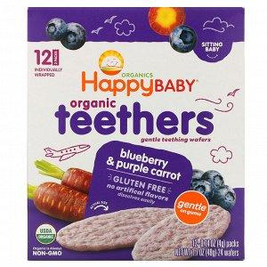 Happy Family Organics, Organic Teethers, вафли для мягкого прорезывания зубов у сидящих малышей, голубика и фиолетовая морковь, 12 пакетиков по 4 г (0,14 унции)