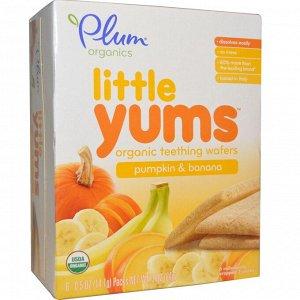 Plum Organics, Little Yums, органические вафли для прорезывающихся зубов, тыква и банан, 6 упаковок, 0,5 унции (14,1 г) каждая