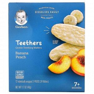 Gerber, прорезыватели, вафли для мягкого прорезывания зубов, для малышей от 7 месяцев, банан и персик, 12 пакетиков по 2 вафли в каждом
