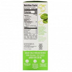 Happy Family Organics, Organic Teethers, вафли для мягкого прорезывания зубов у сидящих малышей, горох и шпинат, 12 пакетиков по 4 г (0,14 унции)
