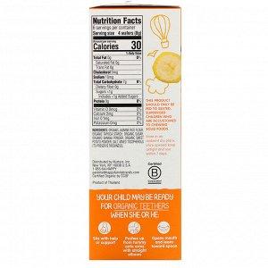 Happy Family Organics, Organic Teethers, вафли для мягкого прорезывания зубов у сидящих малышей, батат и банан, 12 пакетиков по 4 г (0,14 унции)