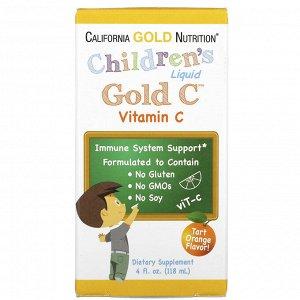 California Gold Nutrition, Gold C, витамин C в жидкой форме для детей, класса USP, натуральный апельсиновый вкус, 118 мл (4 жидк. унции)