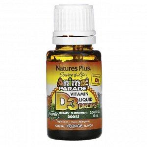 Nature&#x27 - s Plus, Source of Life, «Парад животных», витамин D3, жидкие капли, натуральный апельсиновый вкус, 200 МЕ, 0,34 жидк. унций (10 мл)