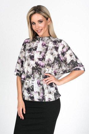 Блузка Андре №21.Цвет:серый/сиреневый