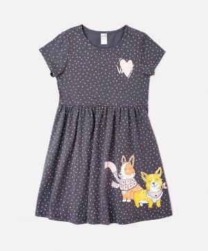 Платье для девочки Crockid К 5647 коричневый, горошки к1250