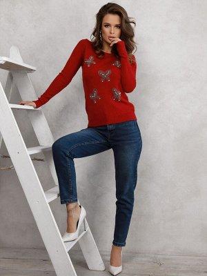 Бордовый ангоровый свитер с аппликациями