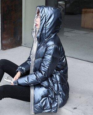 Женская демисезонная куртка удлиненная темно синий