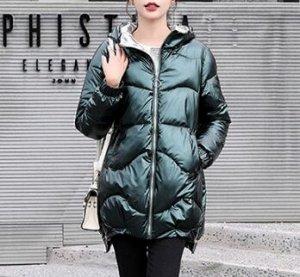 Женская демисезонная куртка удлиненная темно зеленый
