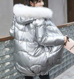 Зимний пуховик перламутр светло-серый