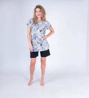 "Комплект женский ""Газета"" (футболка/шорты)"
